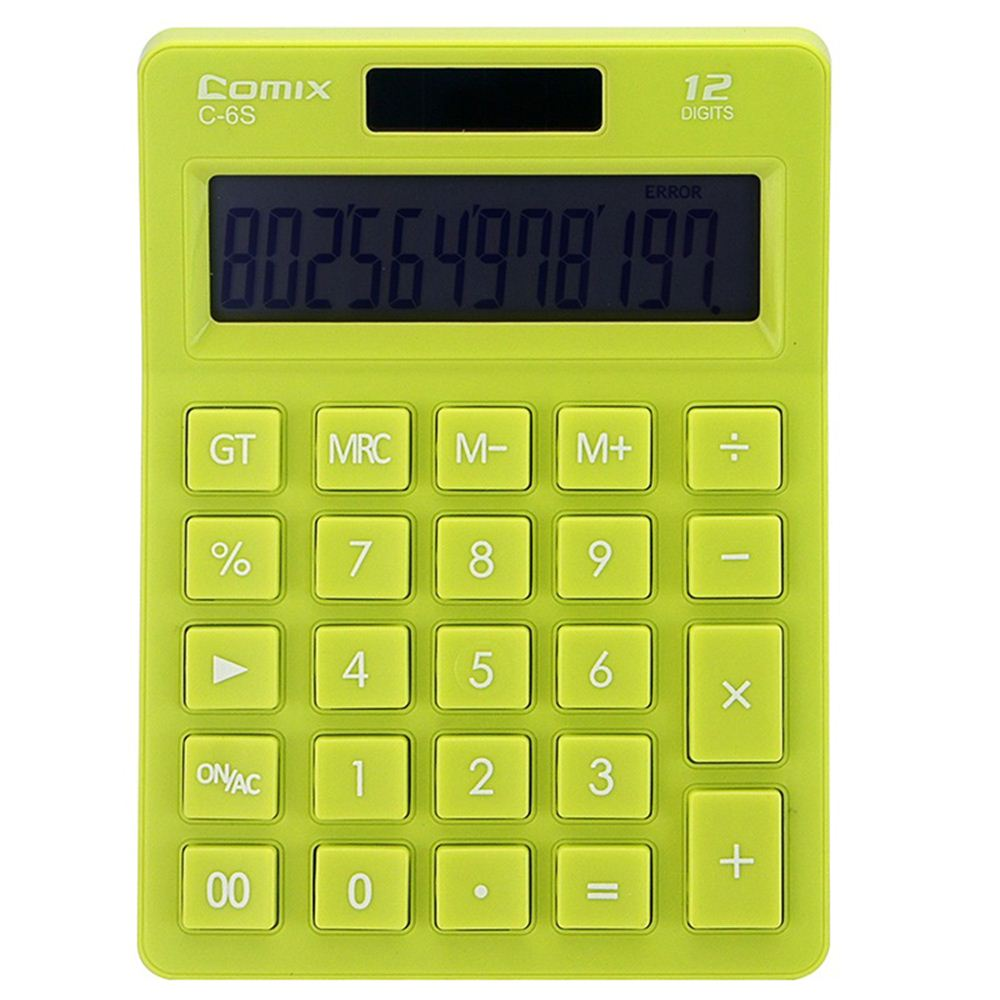 Comix C-6S Colorful Standard Function Desktop Calculator 12 Digits Solar and Battery Dual Power for School Office Home