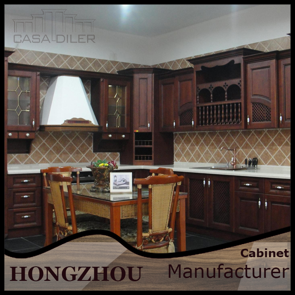 India Mahogany Wood China Kitchen Cabinets
