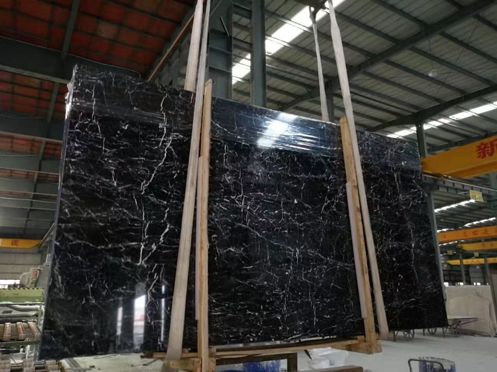 High quality black marble with white veins