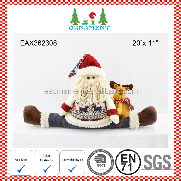 Denim santa claus door stopper for christmas home decoration