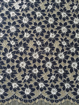 China factory supplier two tone black / white heavy Indian nylon cotton embroidery lace fabric