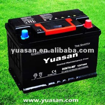 Korean Calcium 12V74AH MF Lead Acid Battery for Cars