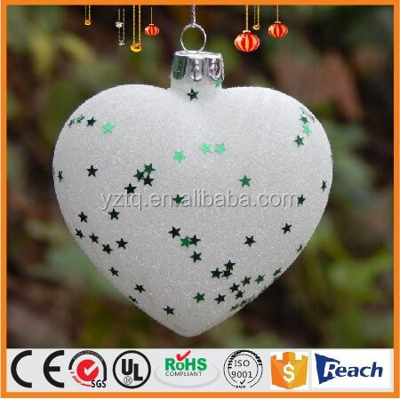 Blown white glass heart with star glitter for christmas decoration