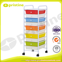 Home Storage Organization colorful 10 tier plastic drawer with wheels