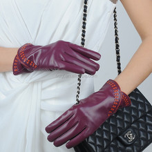 Elegant Lady Women Wine Red Sheep Leather Gloves with Orange Trim