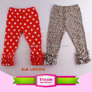 Red With White Star Leopard Icing Ruffle Capri Pants Soft Cotton Little Girl Pants With Triple Ruffles