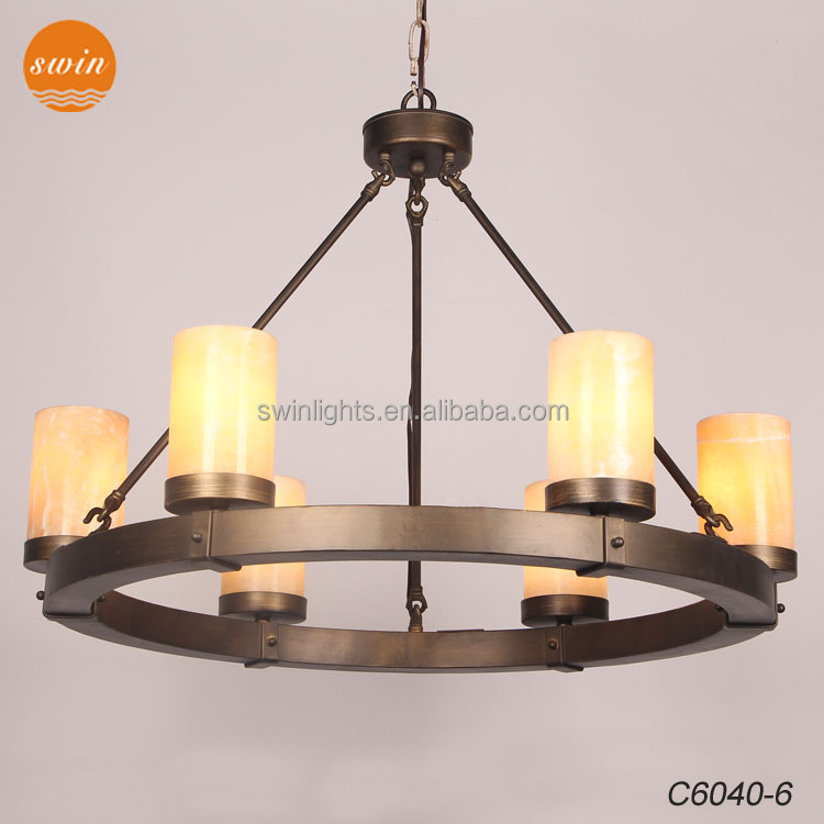 Spanish marble chandlier lighting,antique bronze round iron pendant lamp 6-lights with CE/ul