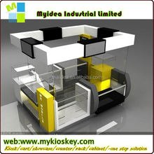 top end wooden and glass mobile shop interior design mobile phone store equipment