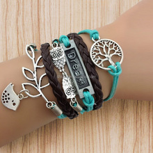 2014 Fashion Tree of Life, Dream, Owls & Lucky Branch Leaf with Lovely Bird Wax Cords Leather Bracelet