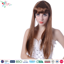 wholesale cheap synthetic fibre hair 26 inch long straight brown wig