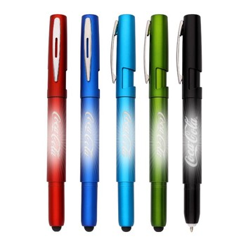Logo light up multifunctional stylus ball pen with phone stand pen