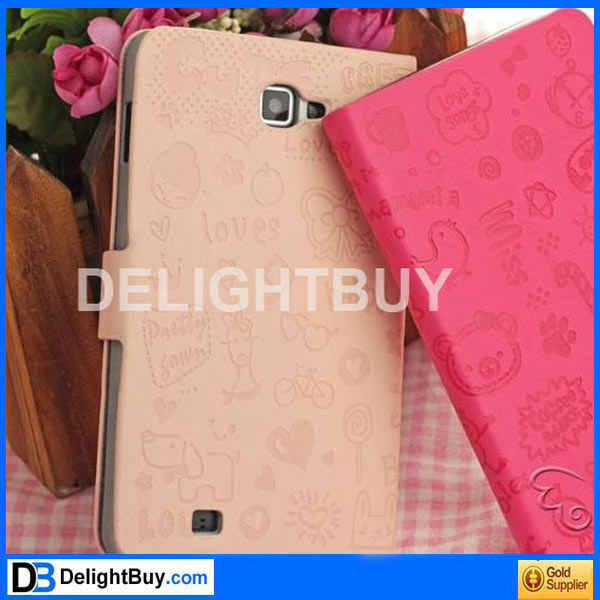 For i9220 Rose Magic Girl Flip PU Pouch Case For Samsung Galaxy Note GT-