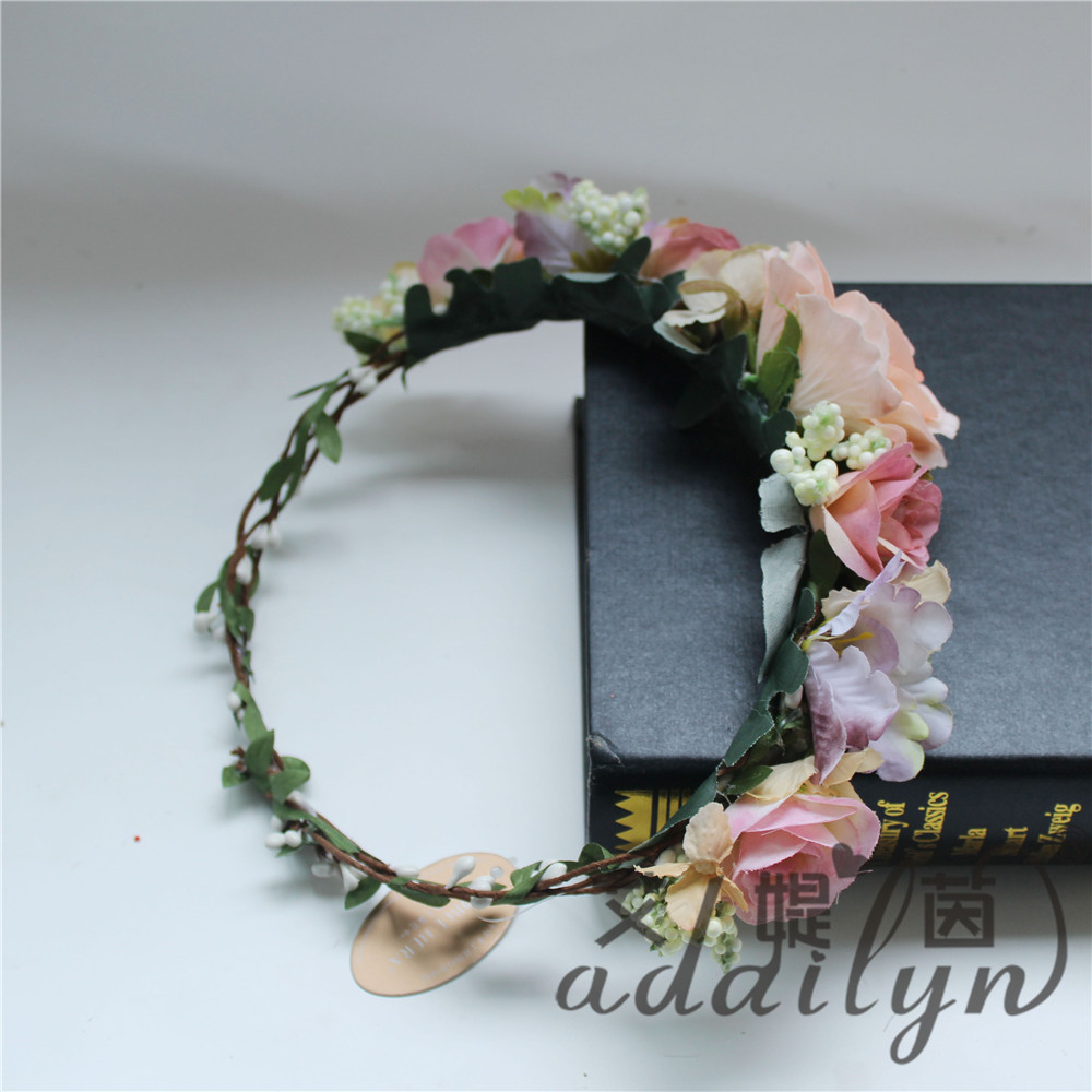 Best selling products artificial rose bridal flower crown garland