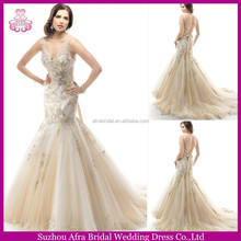 QQ3130 v neckline champagne sexy mermaid lace germany wedding dresses