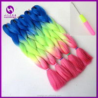 ( Blue+Yellow+Pink) FREE Shipping 1 Piece 24inch 3 tone color ombre hair synthetic twist braiding hair extension heat resistant