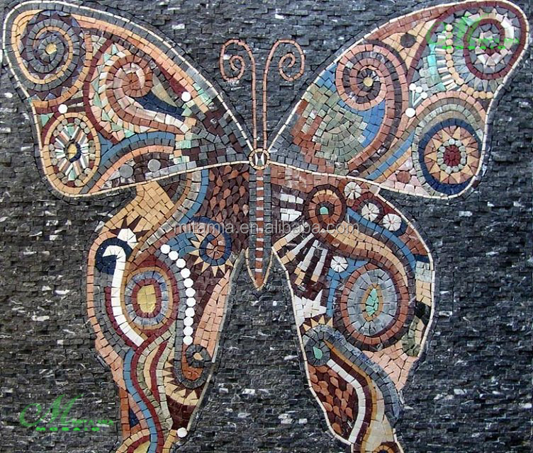 Butterfly design natural stone carved decorative wall mural
