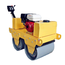 Hand push walk behind small double drum road roller compactor
