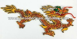 Dragon embroidered patches for garment with stick on