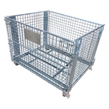 Metal Galvanized Lockable Storage Wire Container/Cage Cart With 4 Wheels