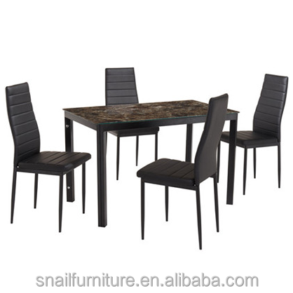 Glass and Travertine Marble Like Top Dining Table 4 Seater Dining Table Set Designs
