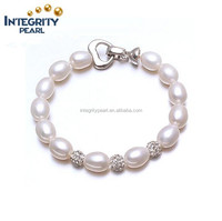 2015 most popular crystal 8-9mm AAA rice real freshwater jewellery pearl bracelet