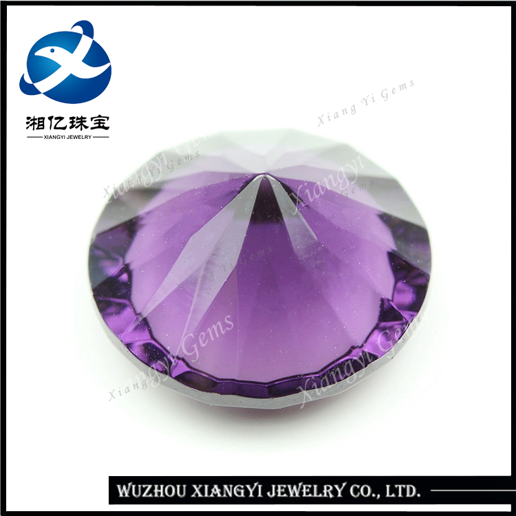 14mm Alibaba china wholesale crystal stone glass gemstone rough diamond purple red round millennium cut natural stone