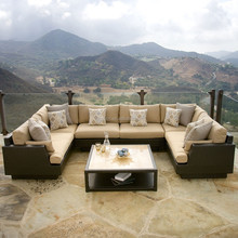 Elegant u shape designed outdoor patio sofa with deep seating and low coffee table rattan home furniture modern