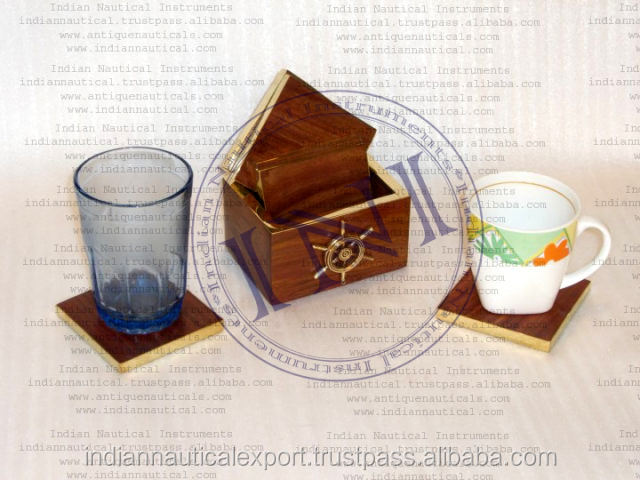 New Year Gift Coaster Set, Classical Decor Coaster Set, Wooden Gifting Coaster Set
