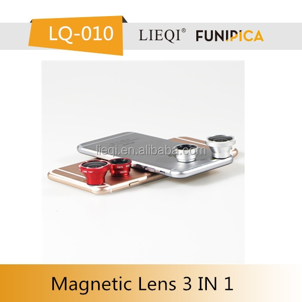 Magnetic 3 in 1 mobile phone camera lens fisheye+wide angle+macro lens for ipad/apple 6/camera CE RoHS approval accept OEM