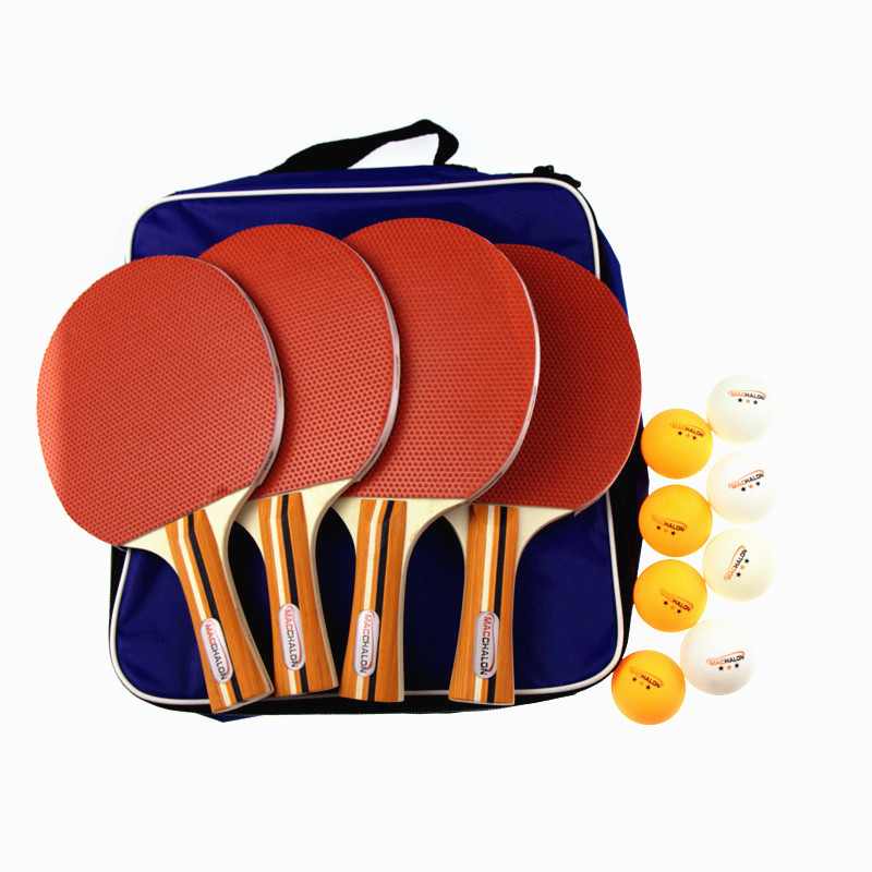 Recreational Table Tennis PingPong Paddle Kits- 4 Premium Bats  8 ABS Balls 1 Retractable Net Stand Carry Bag Pack