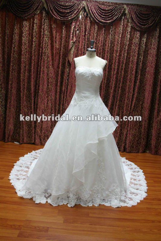 Glamorous Beading bodice wedding dress organza ruffles skirt 2012