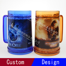 Double Wall Plastic Keep Cold Transfer Printing Beer Cup
