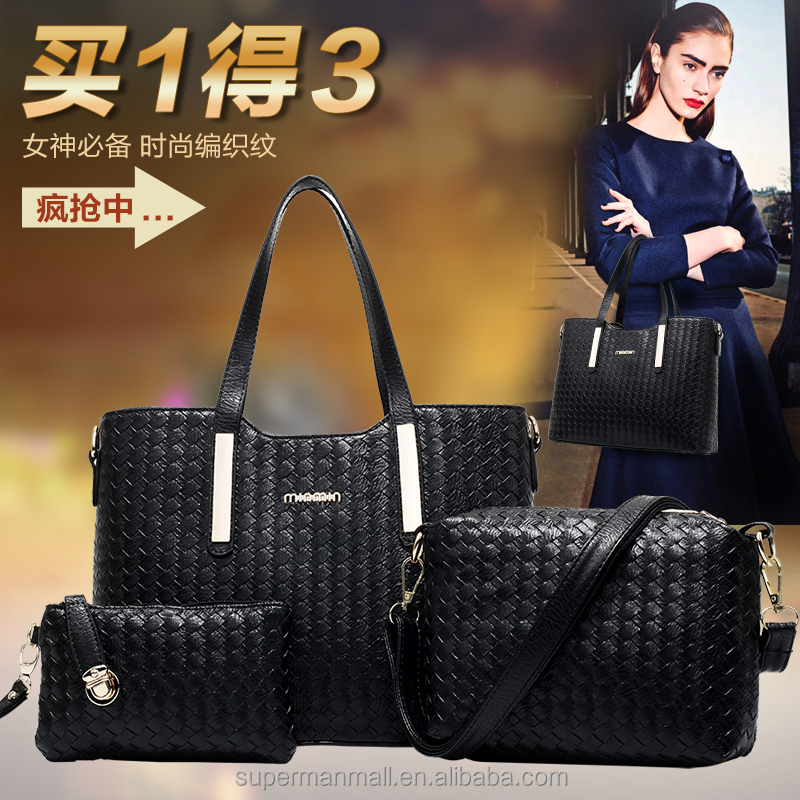 China Hot sale bag for women 2016 3 pcs set bag PU Leather Hand bag for lady