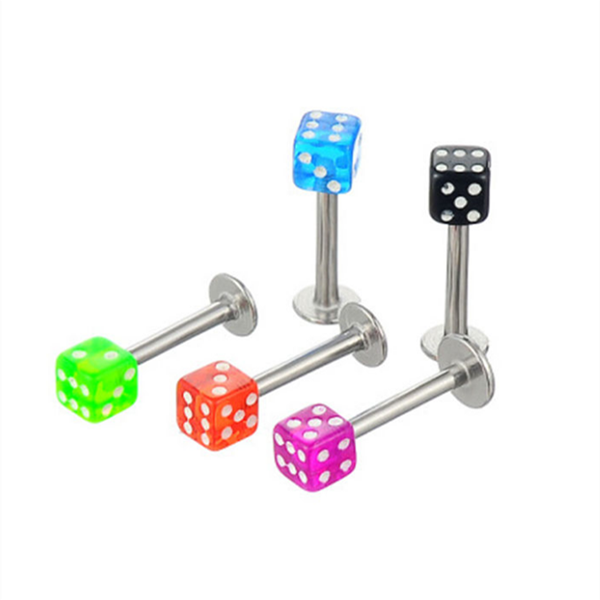 Hot sales stainless steel labret piercing colorful dice lip rings wholesale