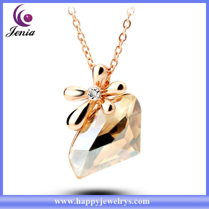 Sparkling brown crystal fashion jewelry 18k gold plated necklace chains wholesale ( YWN5138-1)