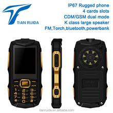 "2.4"" senior GSM CDMA 800/450mhz IP67 waterproof rugged mobile cell cordles phone dual mode 4 quad card slots BT FM long battey"