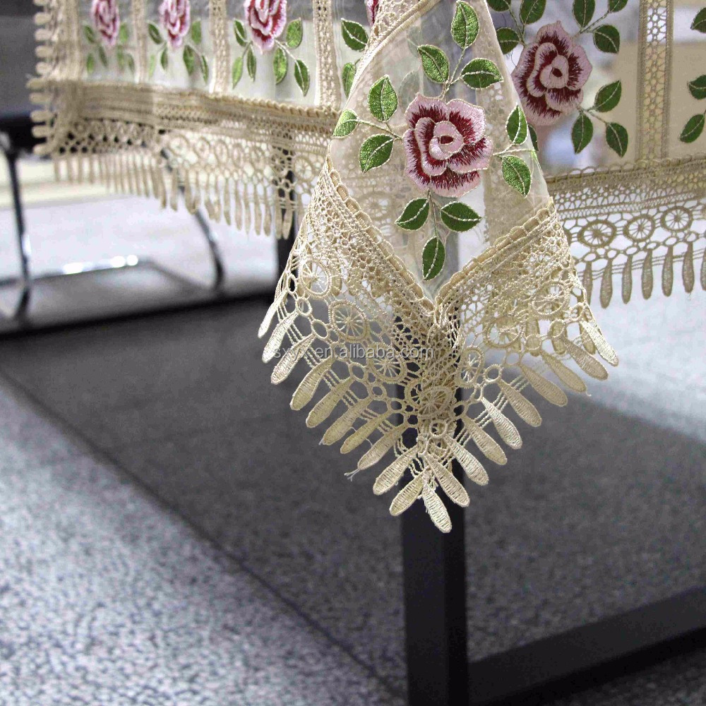 Rose design lace embroidery tablecloth 85*85 cm suqare tablecloths for beside table/ refrigeritor tablecover