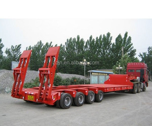 3 Axles 60 Ton Low Bed Semi Trailer Heavy Transport Trailers
