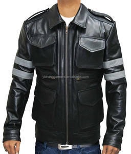 Resident Evil 6 Leon Kennedy Zip Fastening Snap-tab Cuffs Leather Jacket