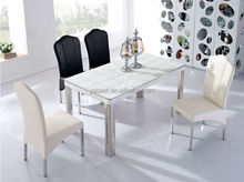 2014 white glass &stainless steel dining table designs D187