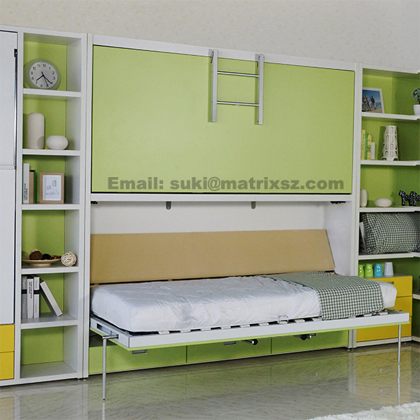 Kids Bunk Wall Bed Modern Bunk Bed Pull Down Wall Bunk Bed