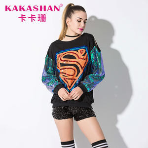Sequin Stage Wear For Women Long Sleeve T shirt Sequin Top