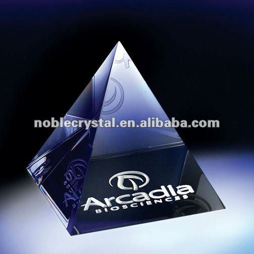 Noble New Logo Engraved Pyramid Crystal Paperweight
