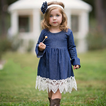 Denim navy blue girls lace dress jean infant baby  pleated fancy dress name with pictures