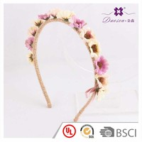 Wholesale Manufacturer OEM custom multicolor artificial sunflower plastic headband hair with flax wrapped