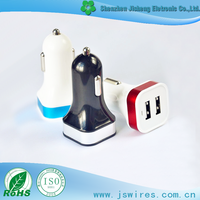 New Design Portable Dual USB Car Charger,Car Adapter for IPOD/IPAD/MP3/Mobile phone