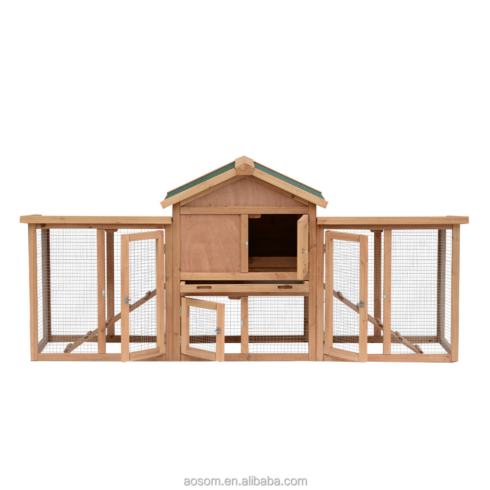 "Pawhut 37"" Deluxe Nesting Boxes Large Run Wood Chicken Coop Hens House"