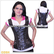 Overbust Steel Double Bones Genuine Cow Leather Corset Bustier / Leder Korsett