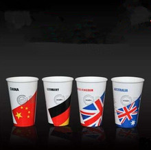 Four national flag map disposable paper cup thickened milk tea paper coffee cup