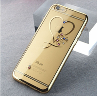 Laser electroplating transparent TPU mobile phone case cover with bling shining diamond crystal for iphone6 6s 6plus CO-TPU-4019